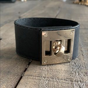 Adjustable faux leather gold cuff bracelet